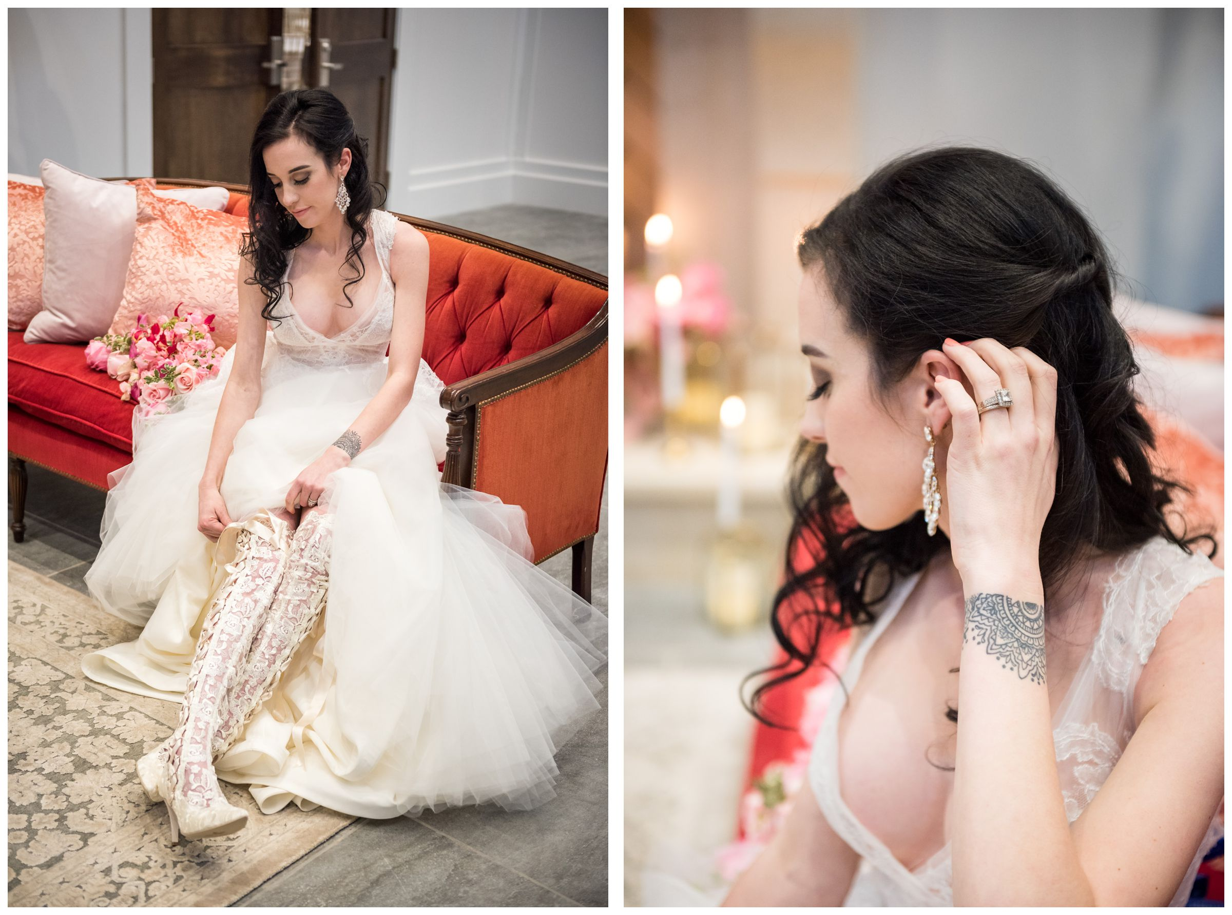 bride wearing House of Elliot wedding boots on red sofa