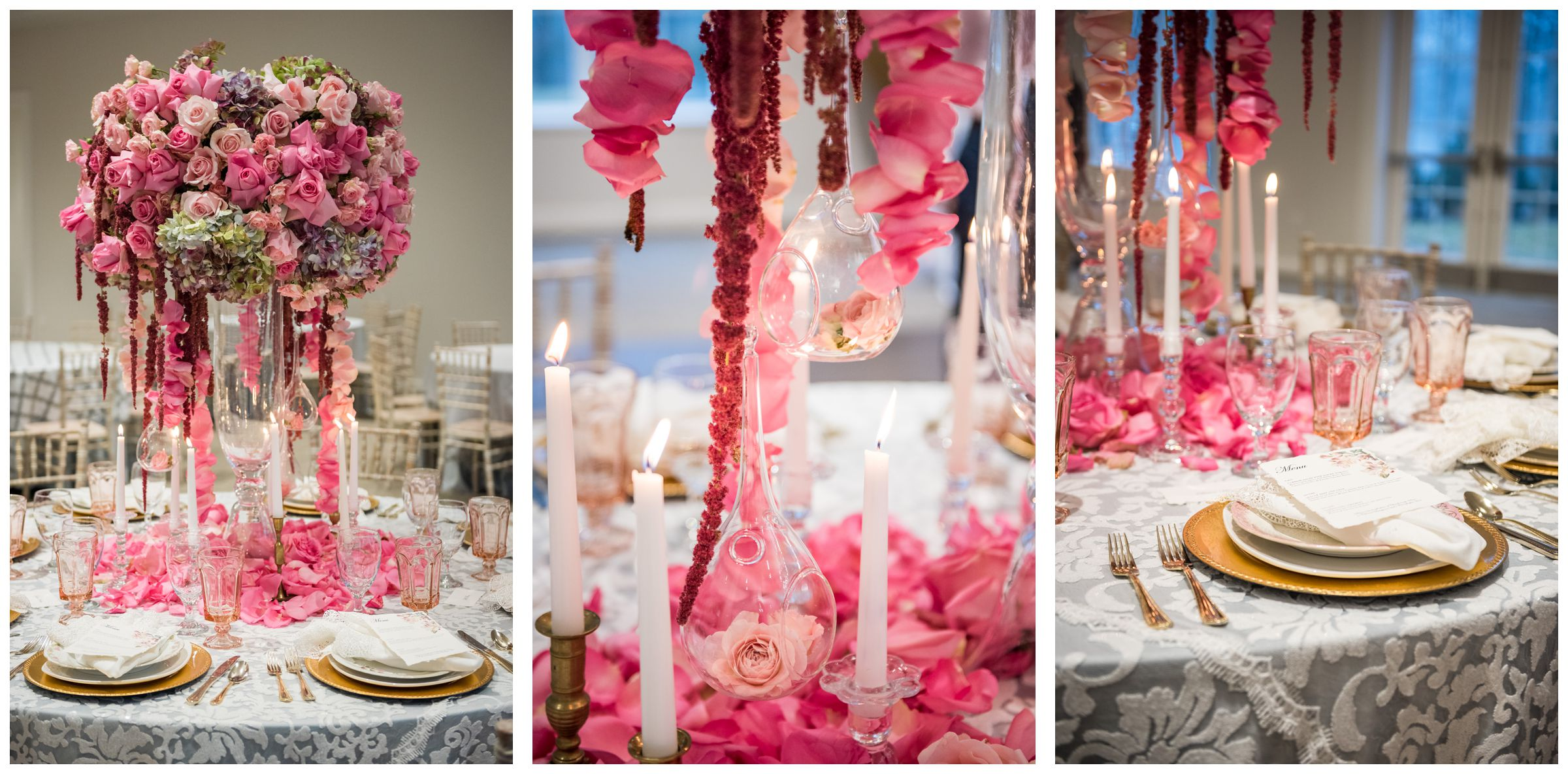 pink and red table scape wedding decor at The Estate at New Albany