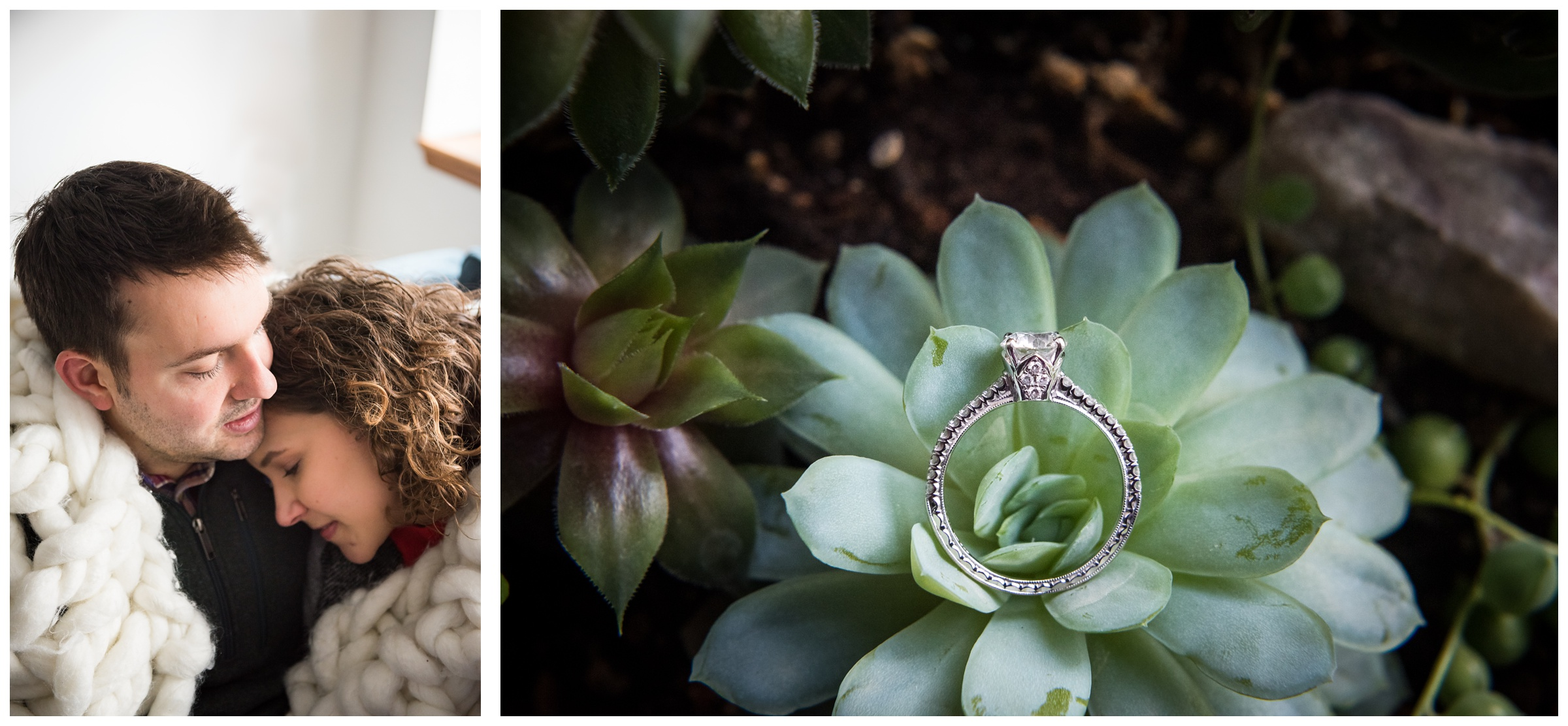 indoor winter engagement photos in the Short North neighborhood of Columbus, Ohio and engagement ring with succulent plant