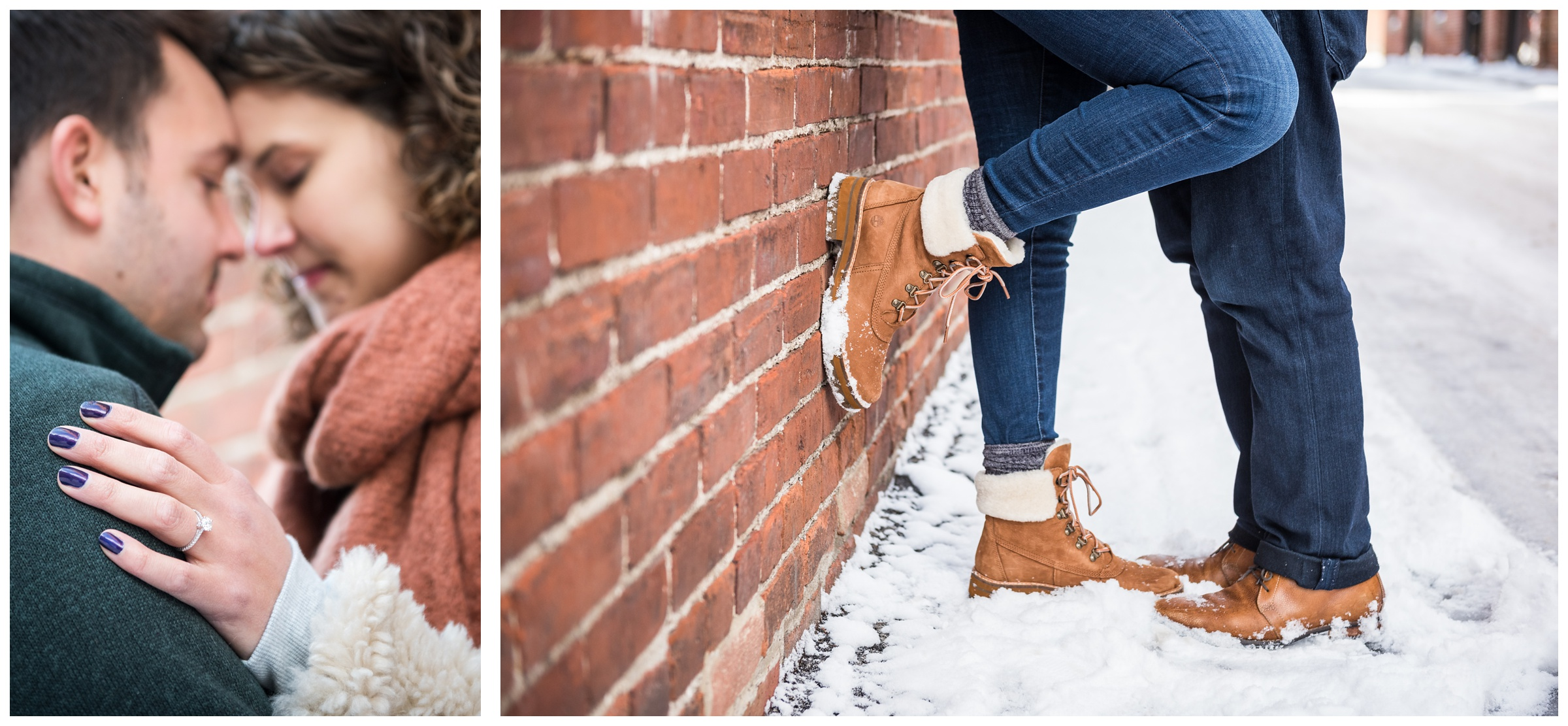 winter engagement photos in brick alley in the Short North area of Columbus, Ohio