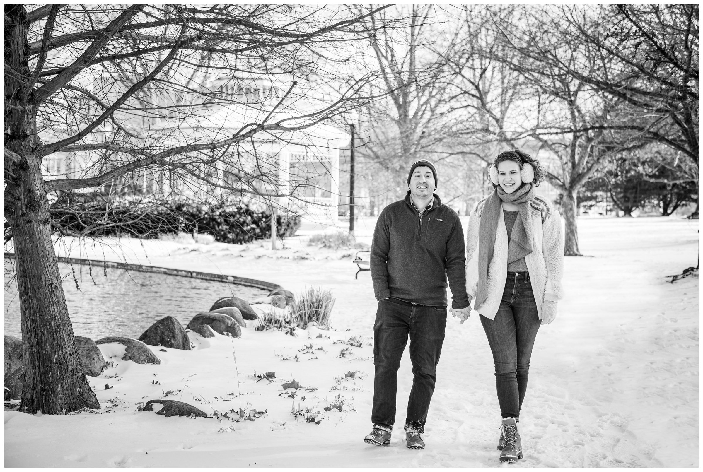 engagement photos in Goodale Park in Columbus, Ohio during snowy winter engagement session