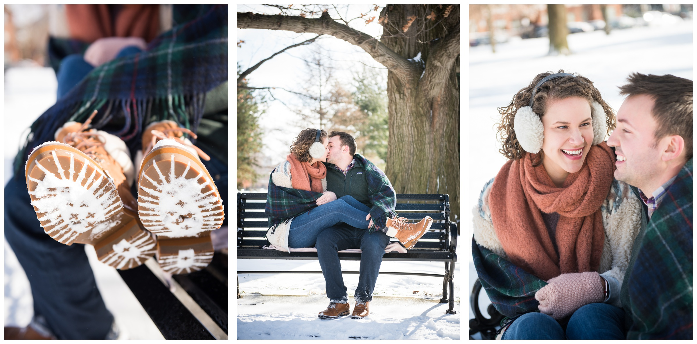 snowy winter engagement session at Goodale Park by Columbus, Ohio wedding photographer