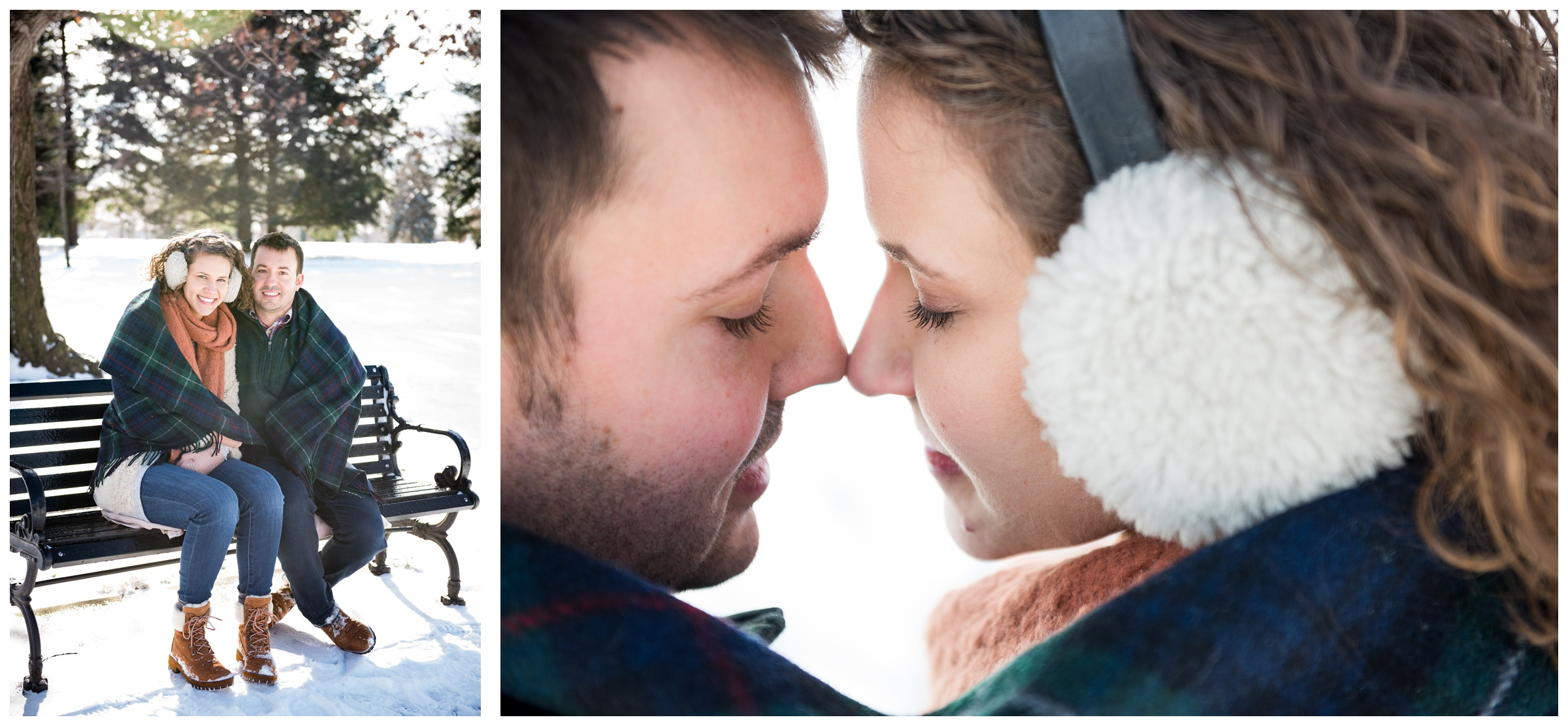 snowy winter engagement photos at Goodale Park in Columbus, Ohio