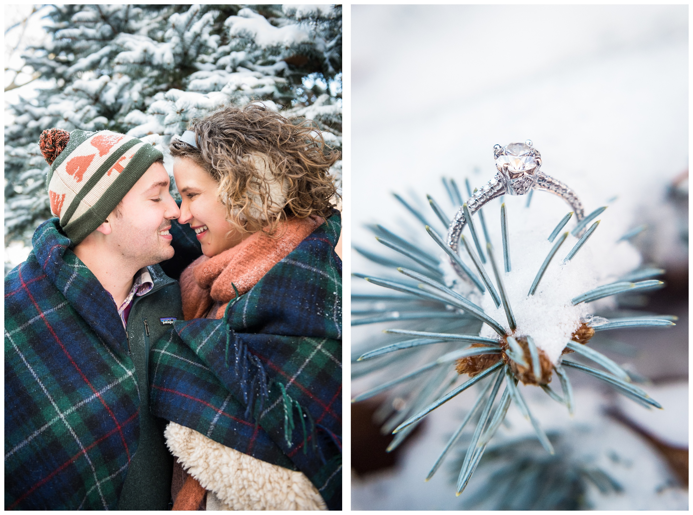 engagement ring on snowy pine branch during winter engagement session in Columbus, Ohio
