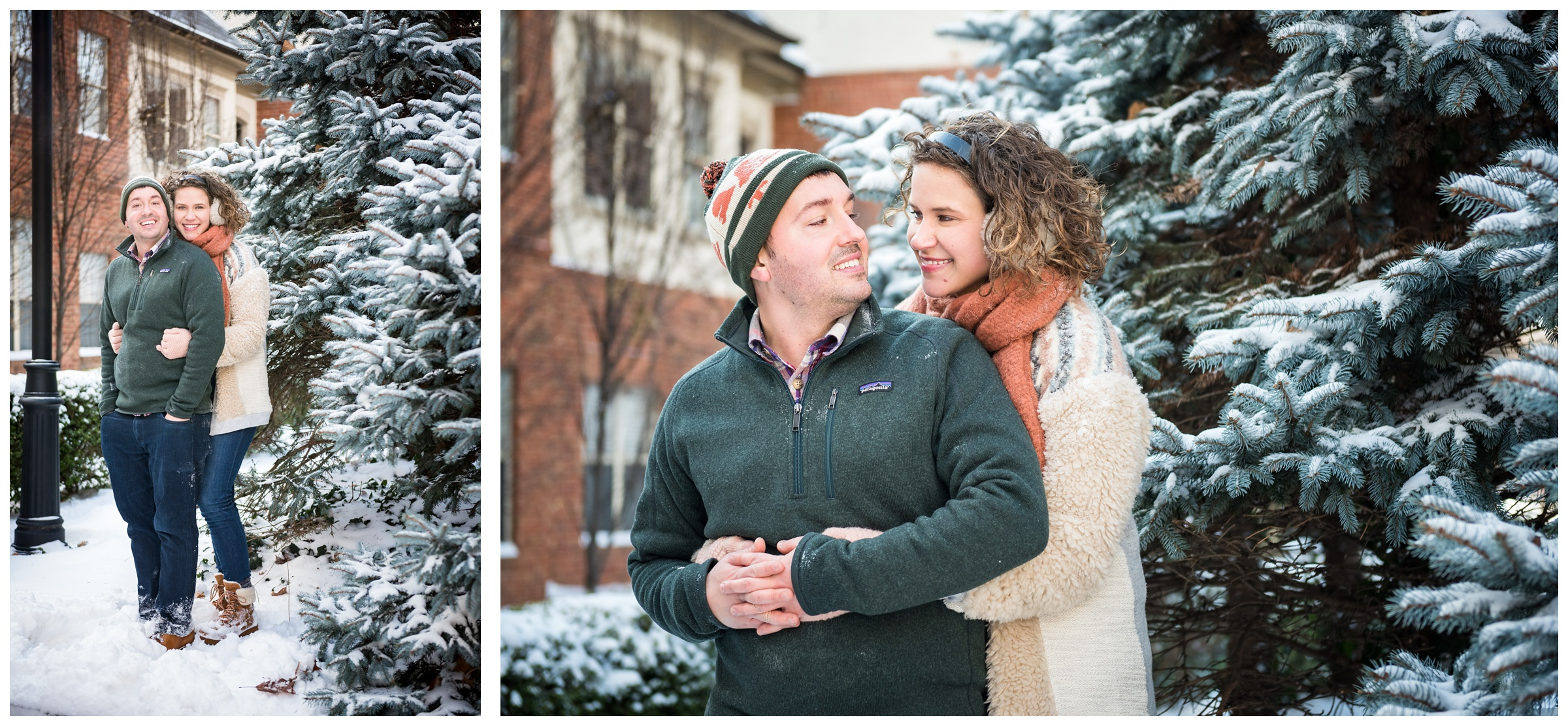 snowy engagement photos in the Short North, Columbus, Ohio during winter