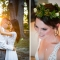Asian bride and groom at sunset and bride with floral crown