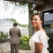 African American wedding photo of bride and father first look