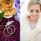 wedding rings on colorful purple and orange flowers and winter bride with fur wrap