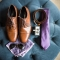 groom's purple wedding day attire, including brown shoes, belt, tie, cufflinks, handkerchief, and Ray Ban sunglasses