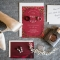 red and gold bridal accessories, shoes, jewelry, perfume, invitations, and wedding rings
