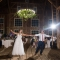 bride and groom's first dance during rustic barn wedding reception in Lancaster Ohio