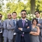 Indian groom and coed mixed gender wedding party wearing Ray Ban sunglasses at Jorgensen Farms