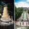 modern silver wedding cake and aerial view of wedding in park