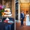 colorful wedding cake and bride and groom at wedding reception at Lindey's in German Village in Columbus