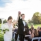 wedding ceremony recessional on golf course