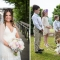 ring bearer and flower girls with dog during rustic outdoor wedding