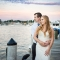 bride and groom at sunset during waterfront wedding in Annapolis, Maryland