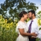 bride and groom with sunflowers at Jorgensen Farms wedding venue in central Ohio