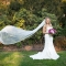 bridal photo session with flying cathedral veil