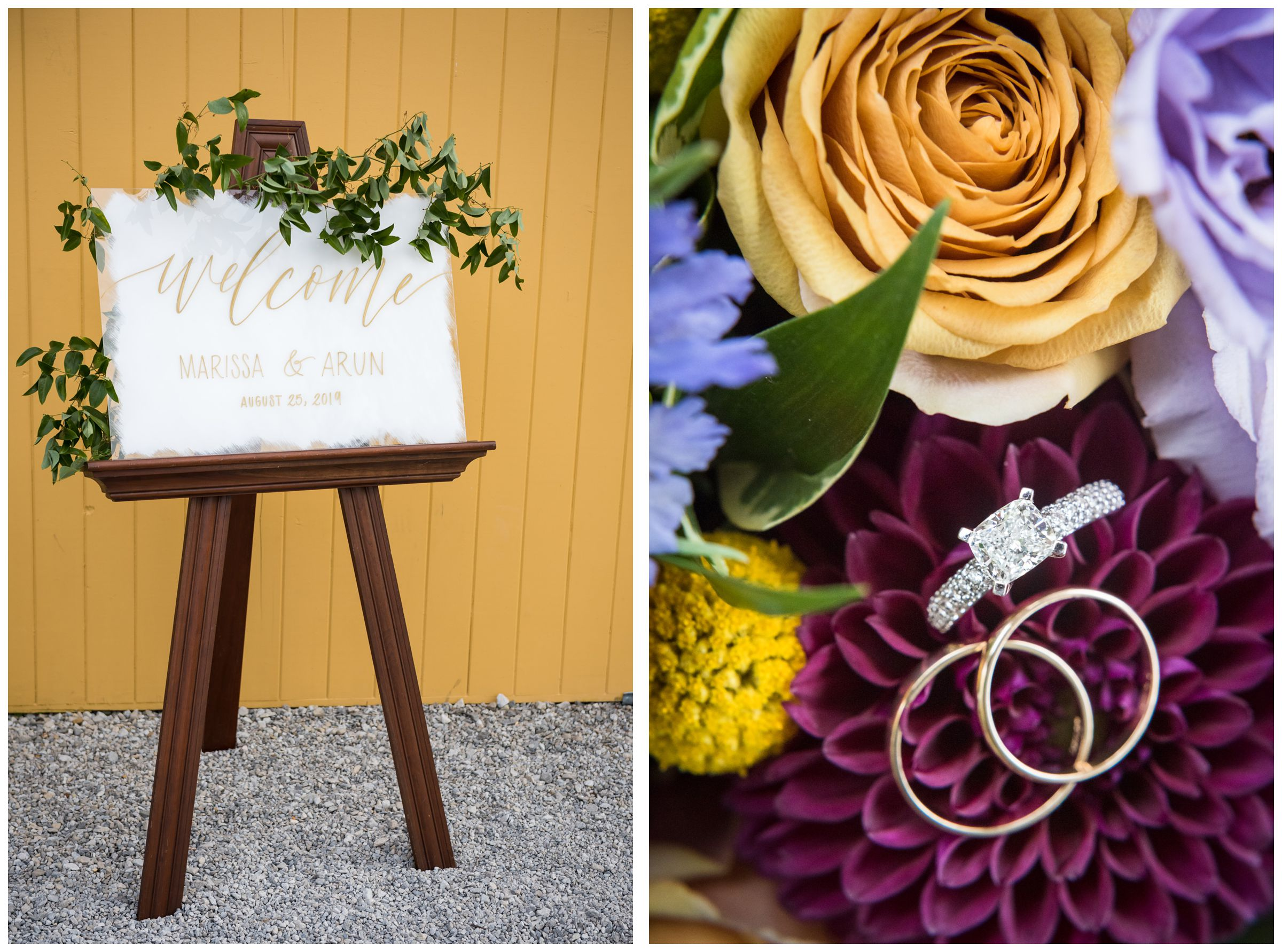 rustic summer script wedding welcome sign with greenery and colorful purple and yellow bouquet with wedding rings
