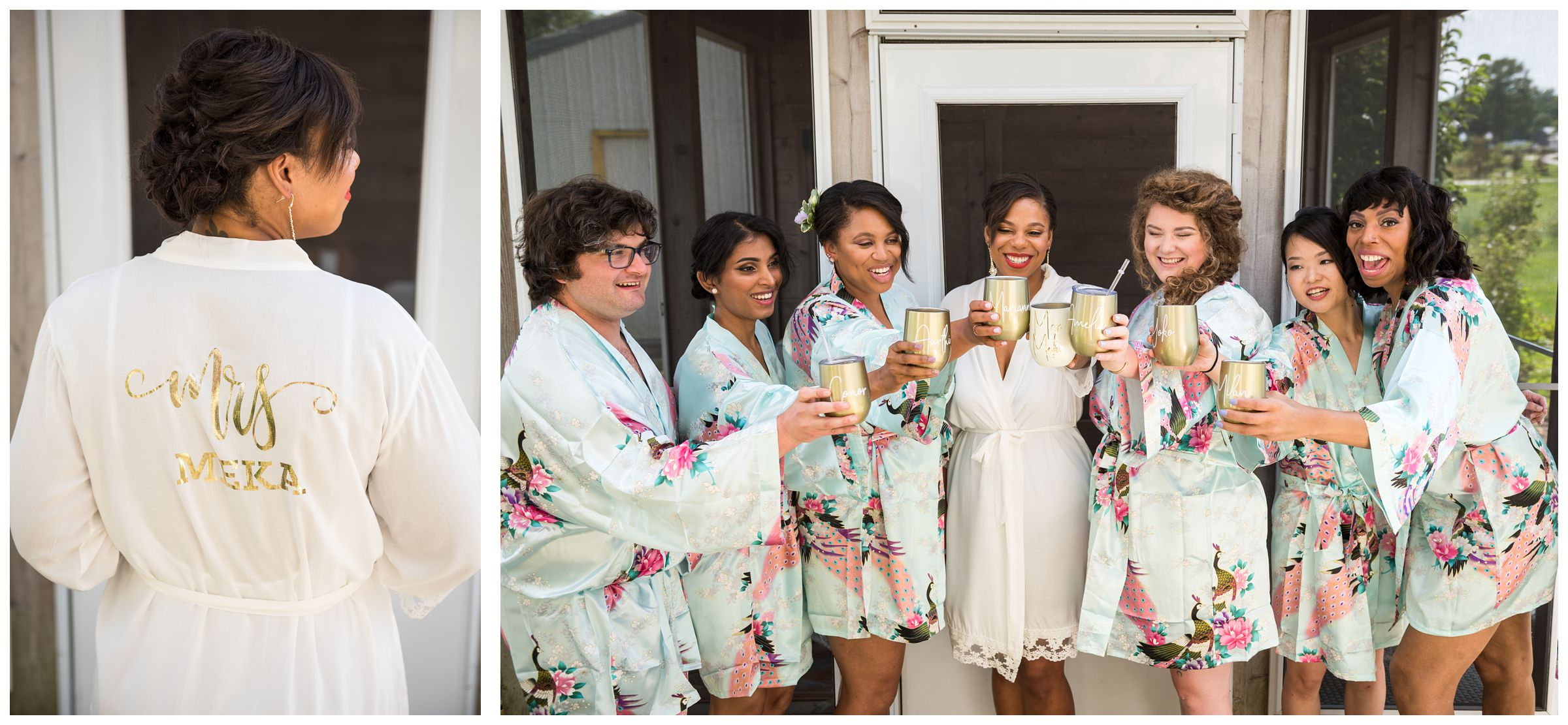 bridesmaids bridesman and bride in robes cheers with champagne