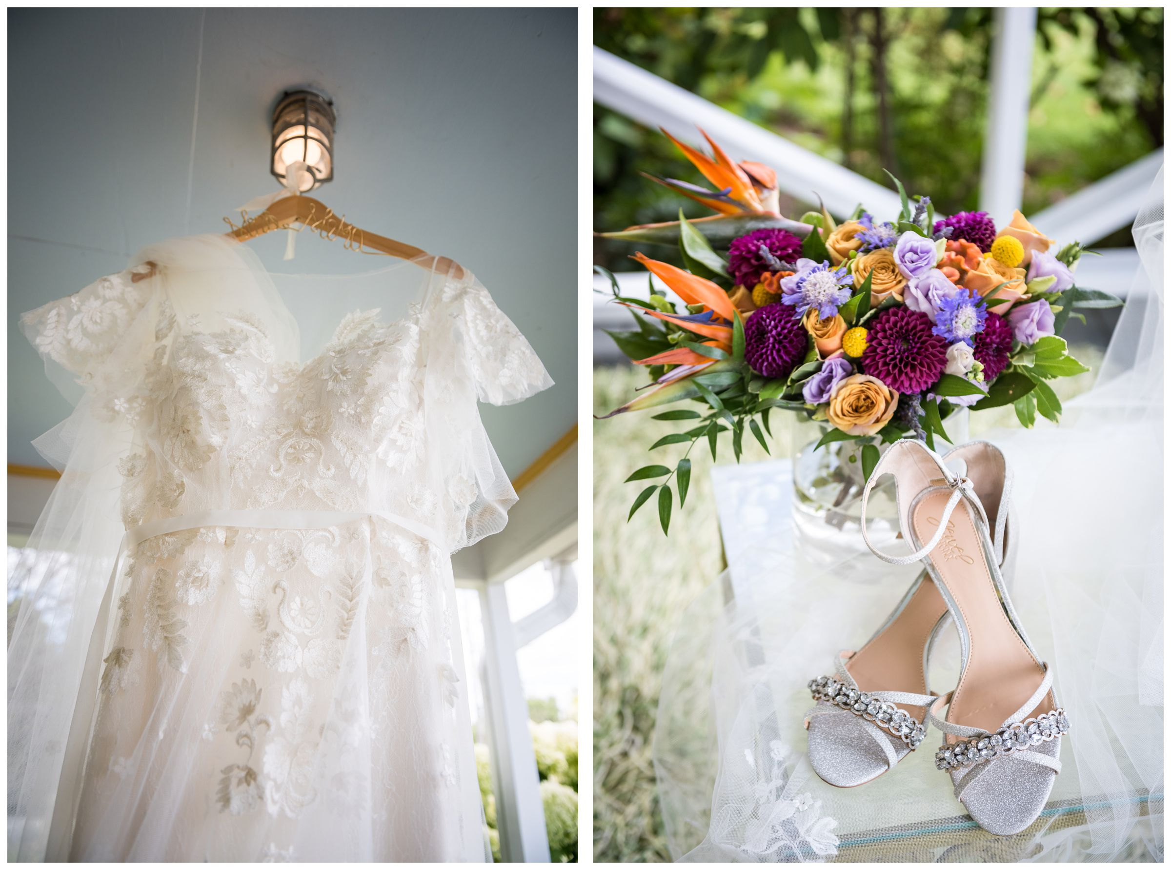 wedding dress with lace flutter sleeves and custom dress hanger, colorful purple and yellow bridal bouquet, silver shoes
