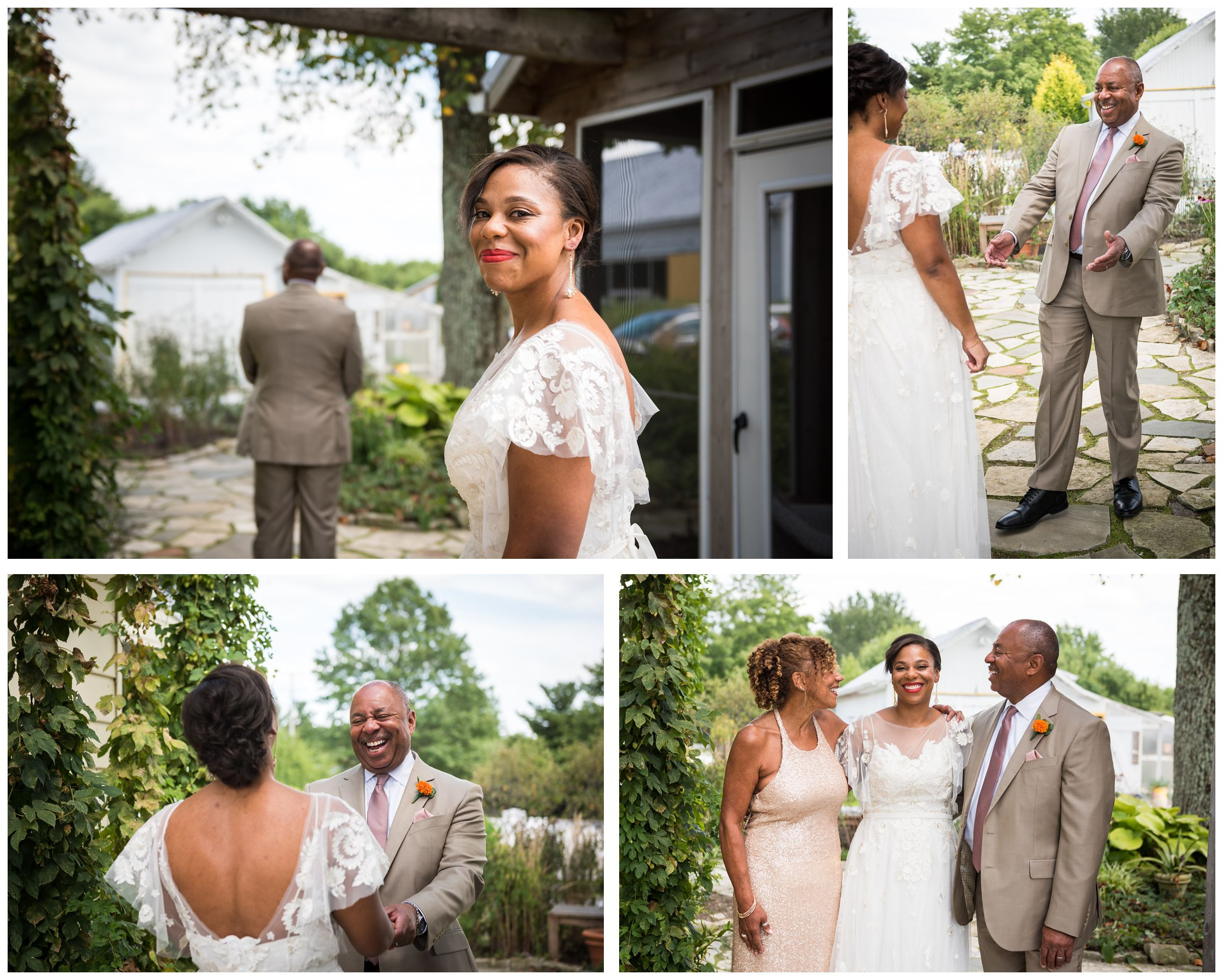 African American black bride doing first look with dad, father daughter first look at Jorgensen Farms wedding in Columbus Ohio