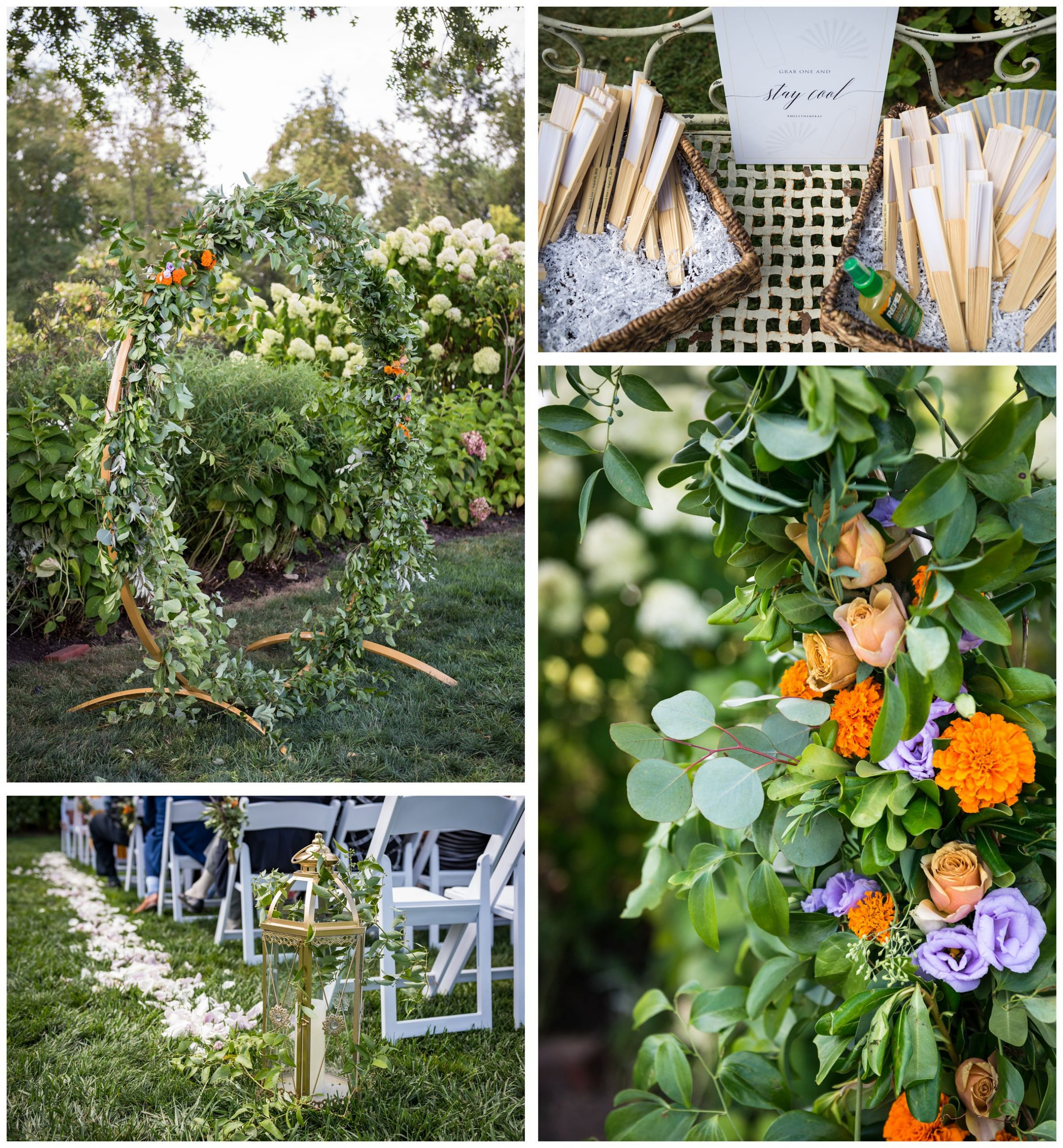 Indian wedding flower marigolds on floral moongate arch with greenery, gold lanterns, orange and purple flowers, and fans at summer wedding at Jorgensen Farms
