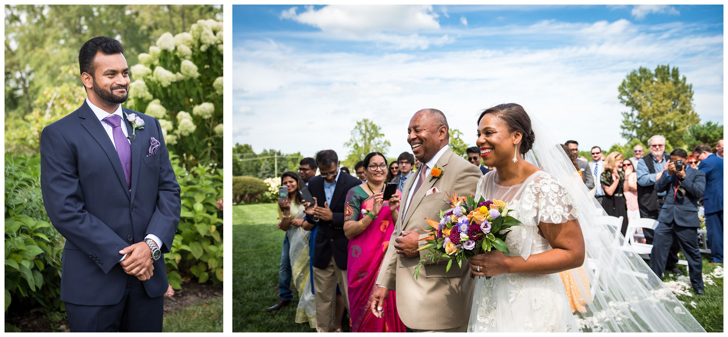 Indian groom waiting as black bride walks down aisle with father during summer Jorgensen Farms wedding