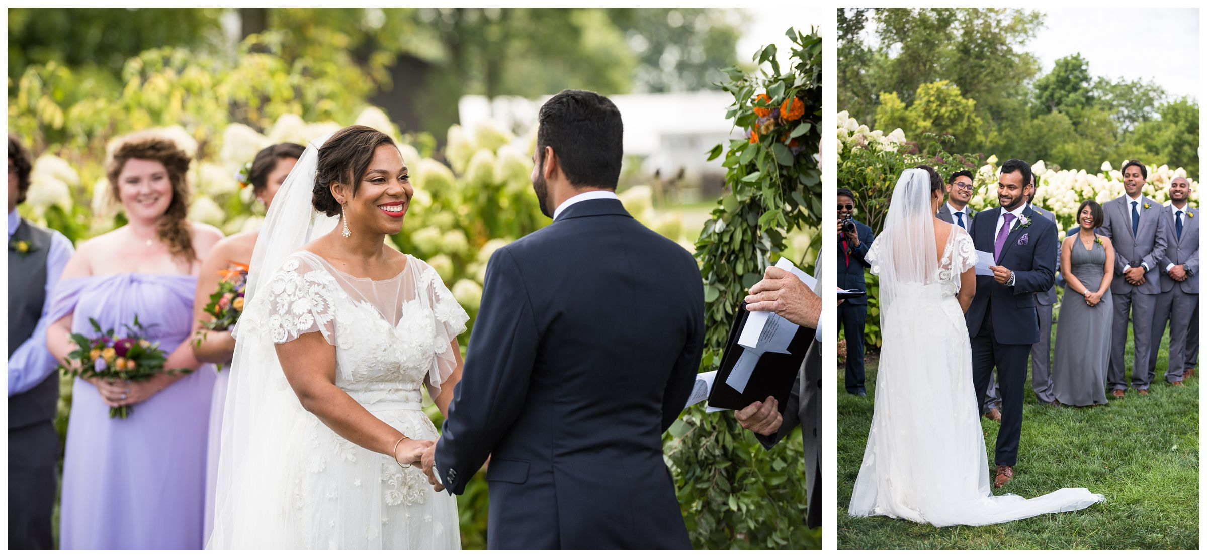Indian groom and African American bride exchanging vows during summer wedding ceremony at Jorgensen Farms in Columbus Ohio
