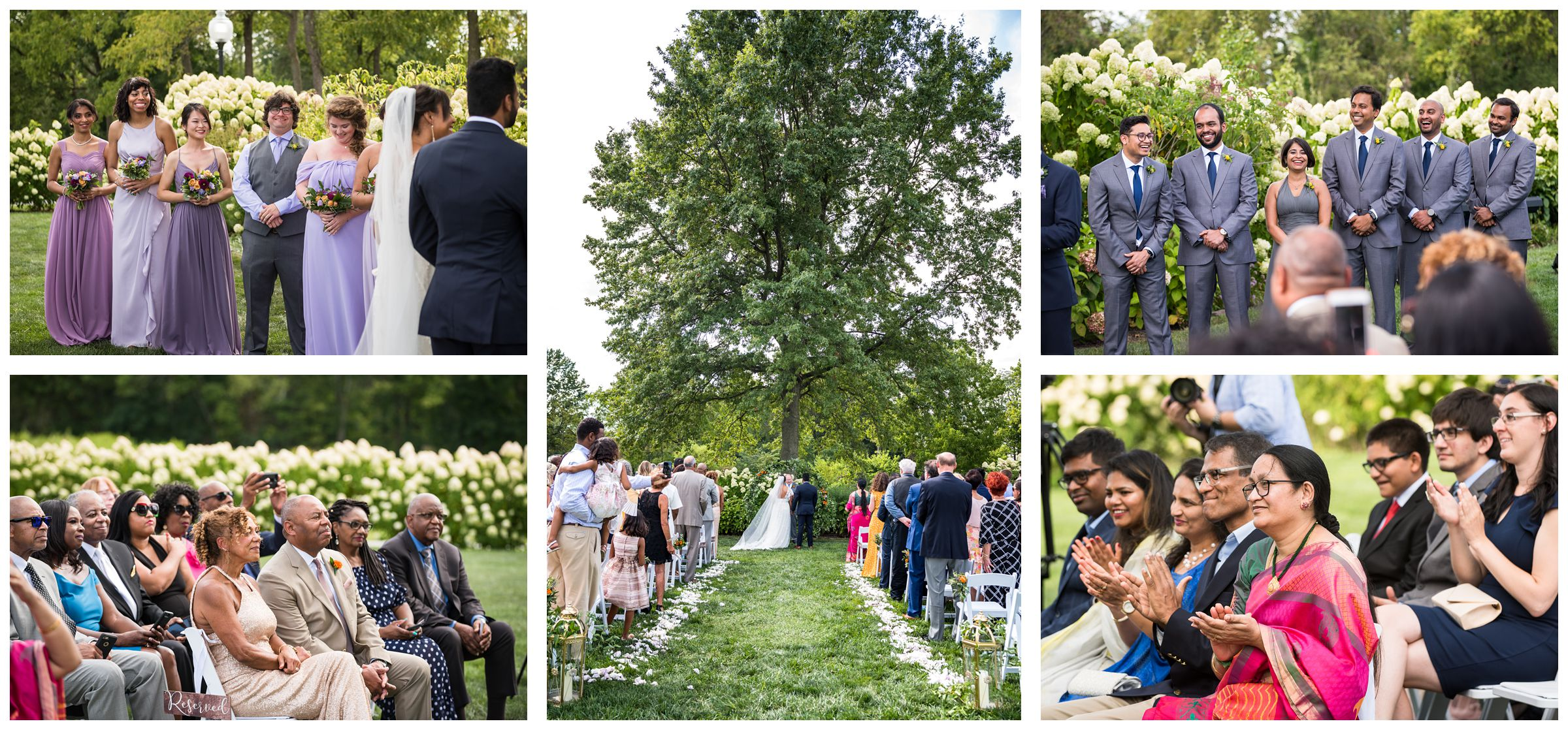 diverse wedding party and family members watch wedding ceremony with Indian and African American influences at Jorgensen Farms in Columbus
