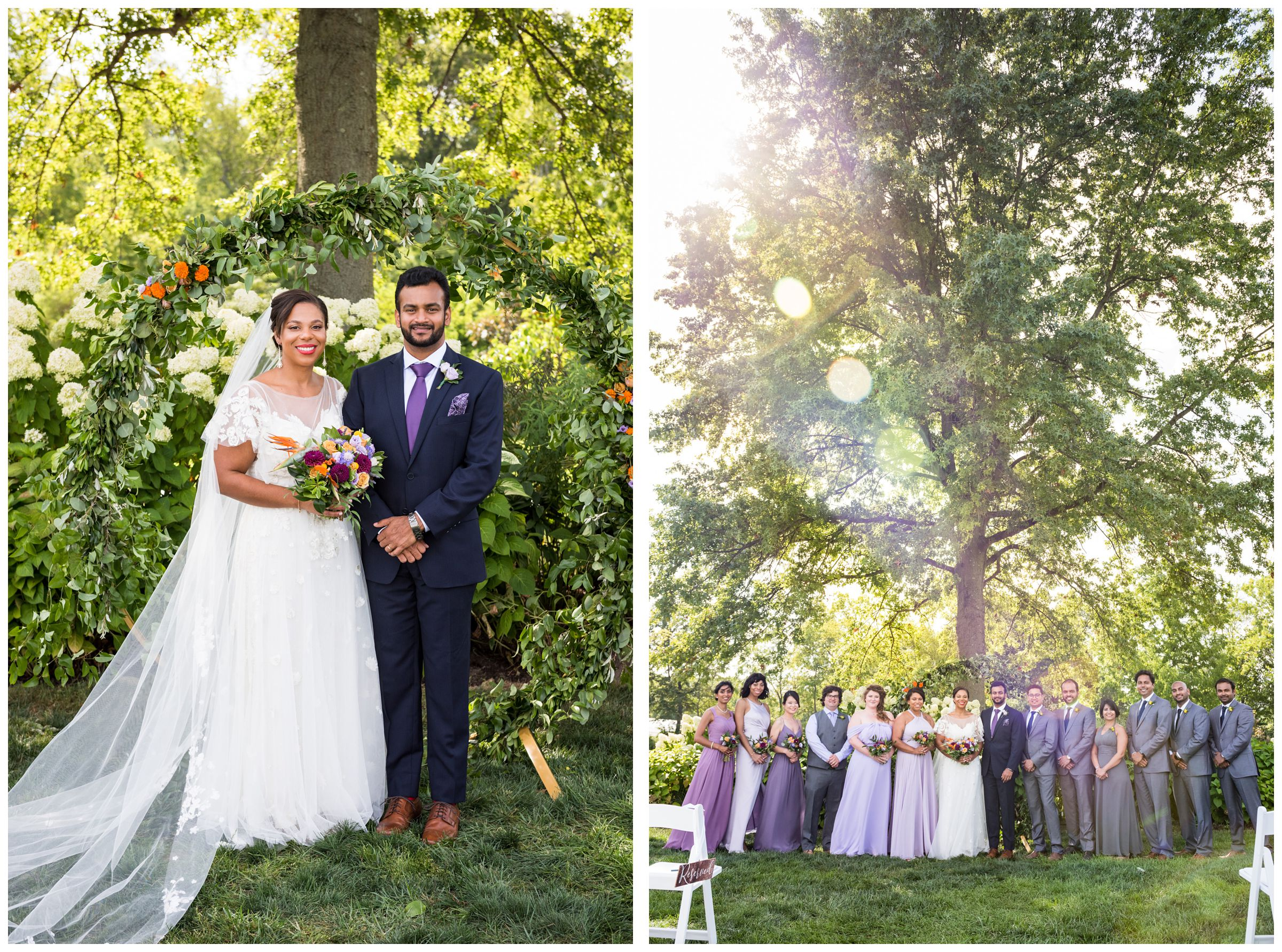 bride and groom with diverse wedding party with lilac purple, blue and gold color scheme