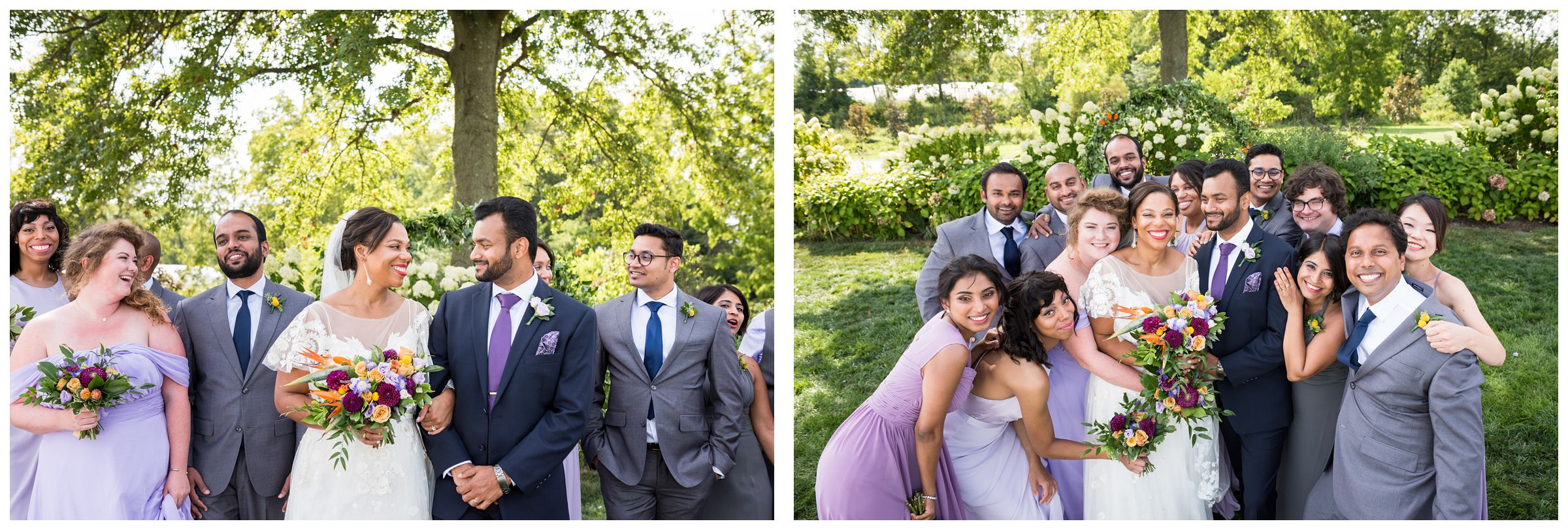 Indian and African American co-ed mixed gender wedding party at Jorgensen Farms