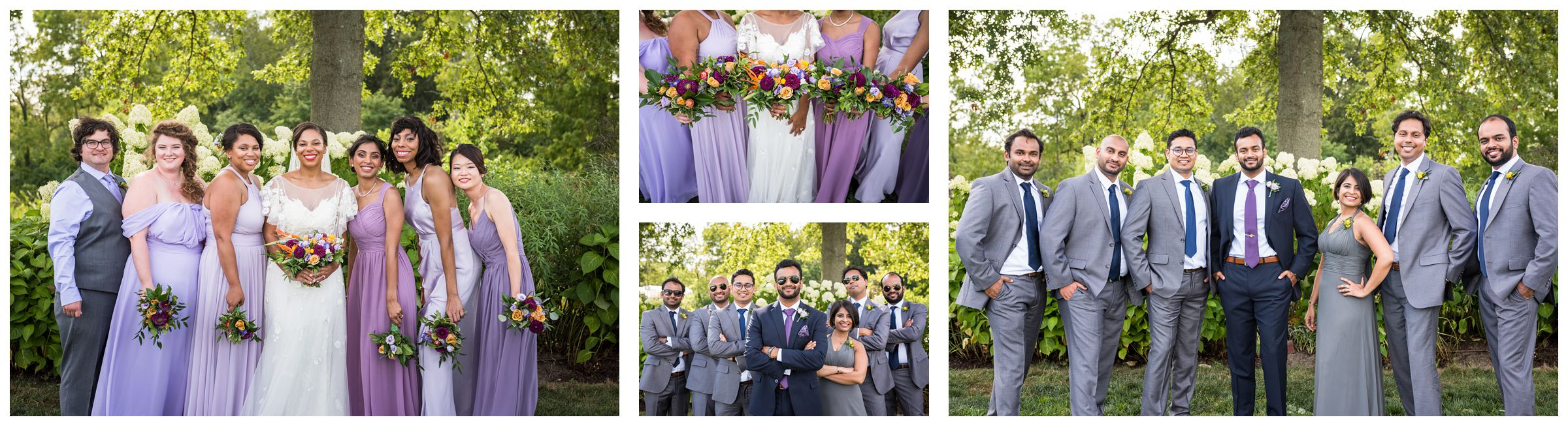 Diverse co-ed mixed gender wedding party with groomswoman and bridesman wearing sunglasses and holding purple and gold bouquets