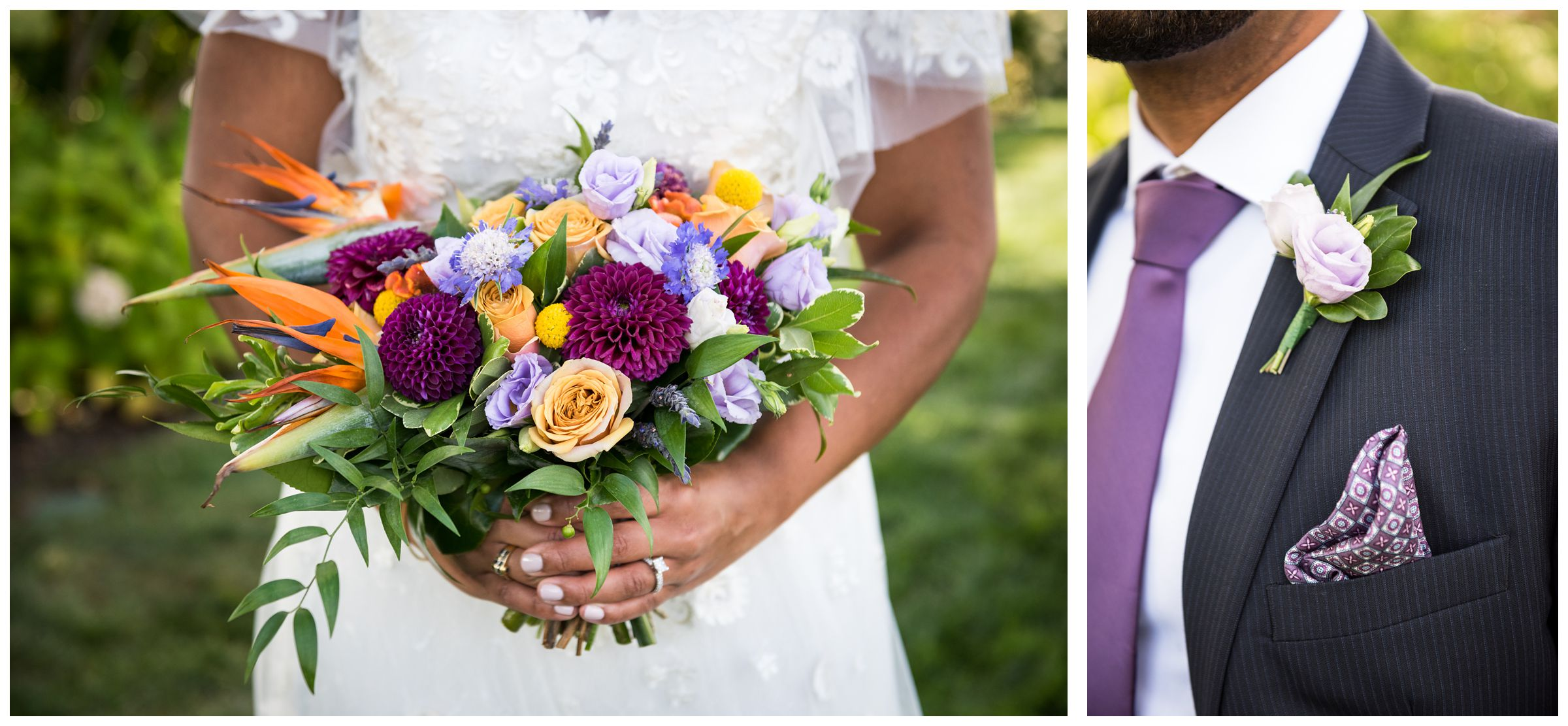 purple and gold bride bouquet and purple and blue groom suit for summer wedding