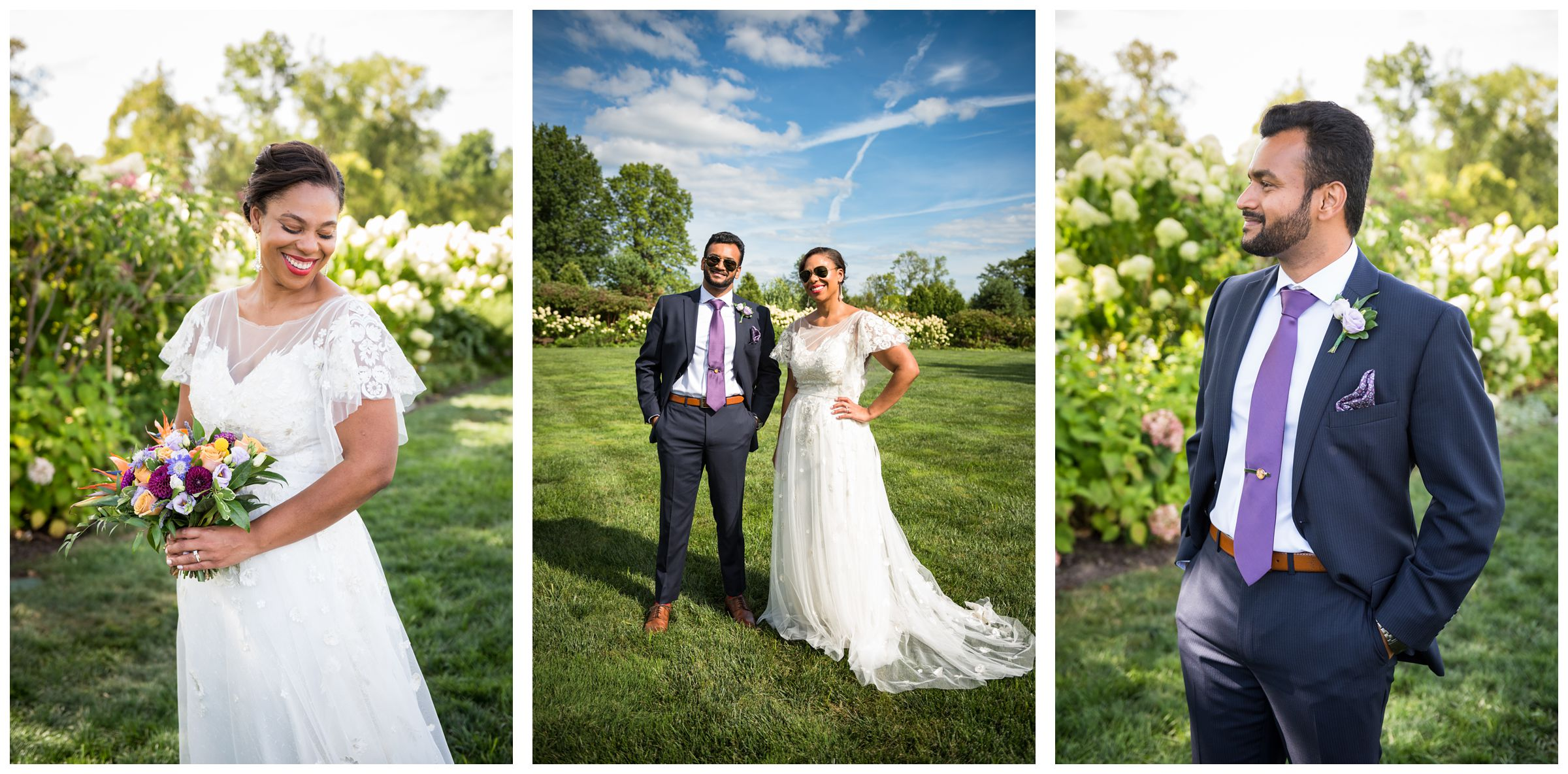 bride in lace wedding dress with flutter sleeves and groom in navy suit with purple tie wearing sunglasses during summer wedding