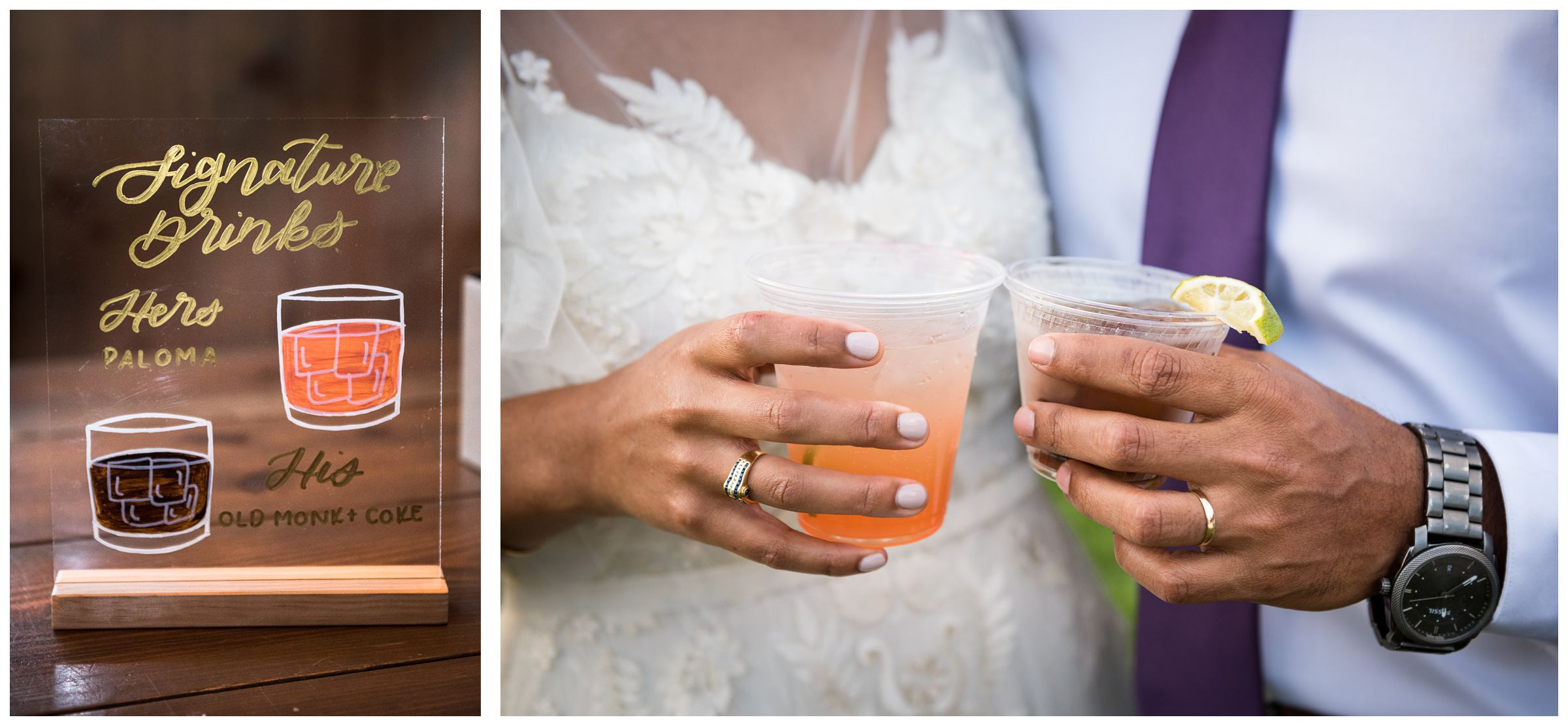 bride and groom holding signature cocktails at wedding reception