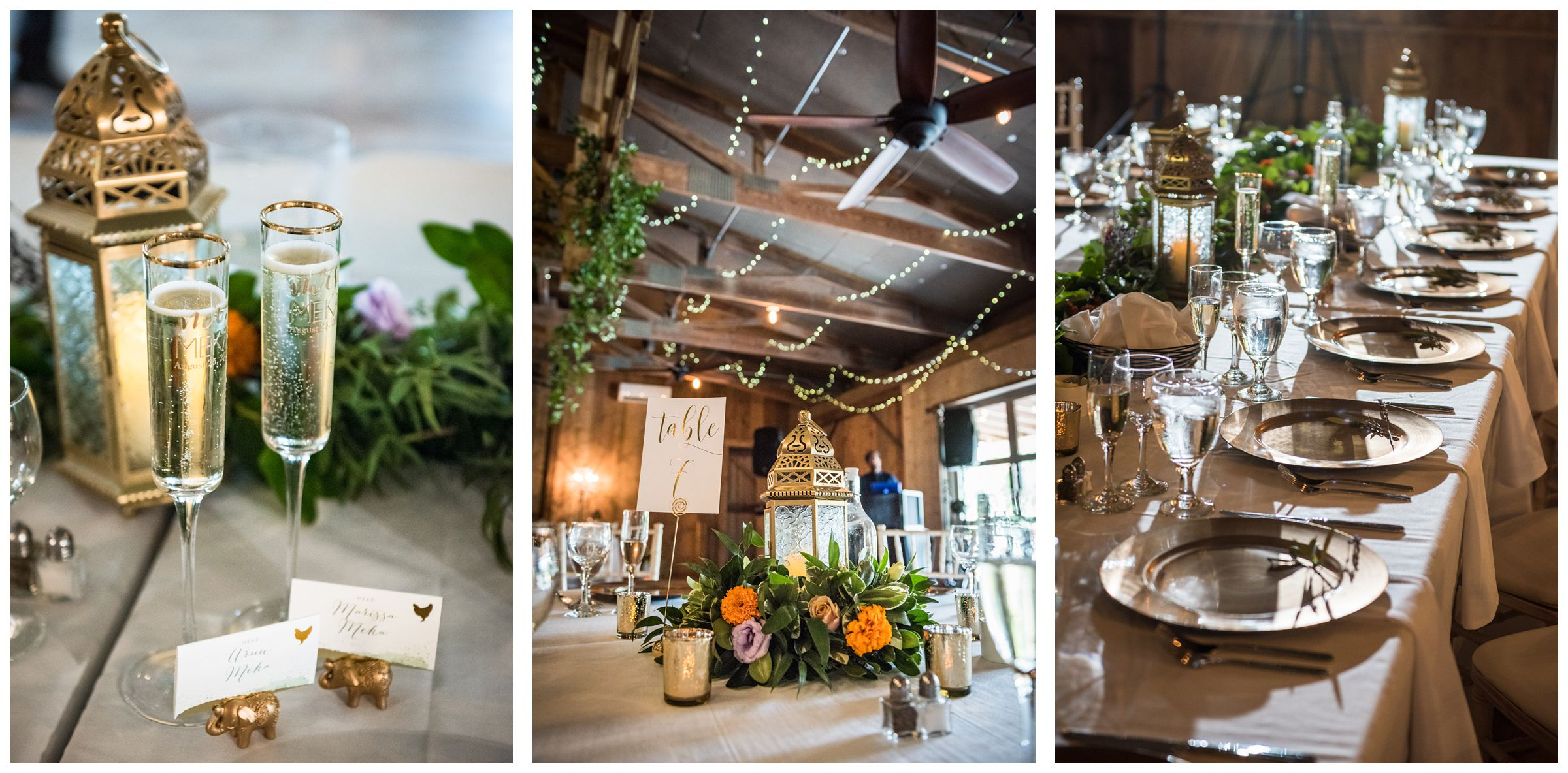 Jorgensen Farms Historic Barn wedding reception with greenery and gold decor including Indian elephants