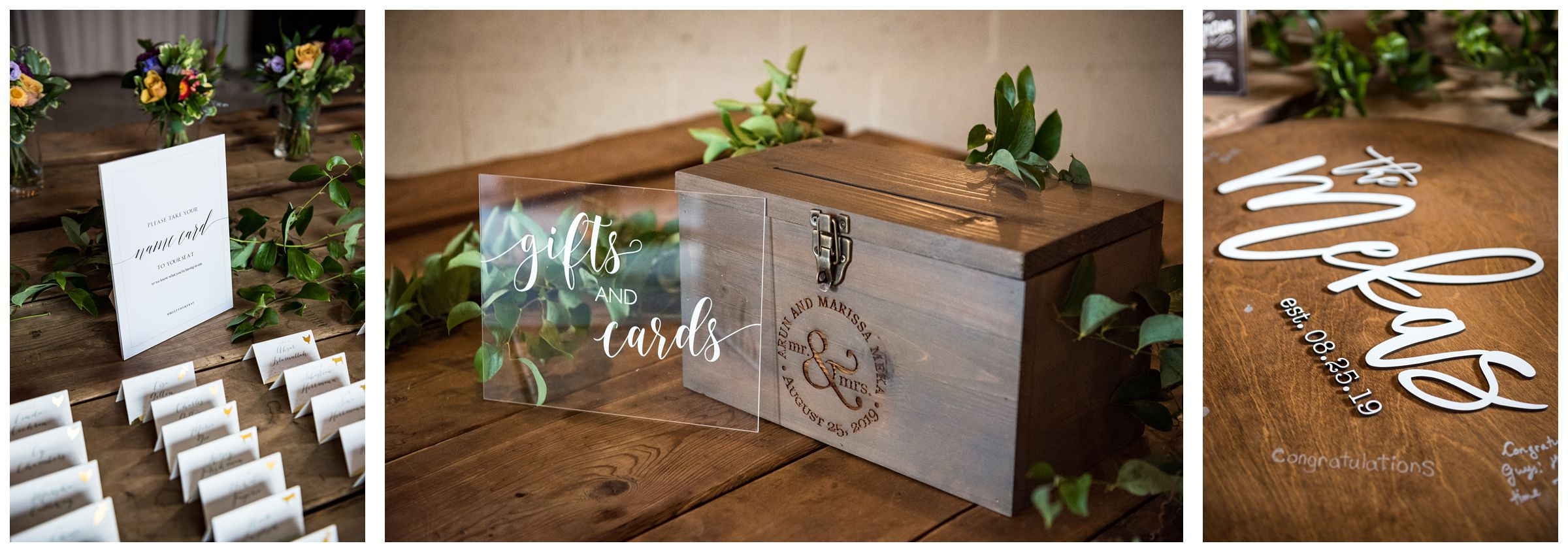 custom engraved wooden wedding card box, wooden guestbook sign, greenery and acrylic wedding signs