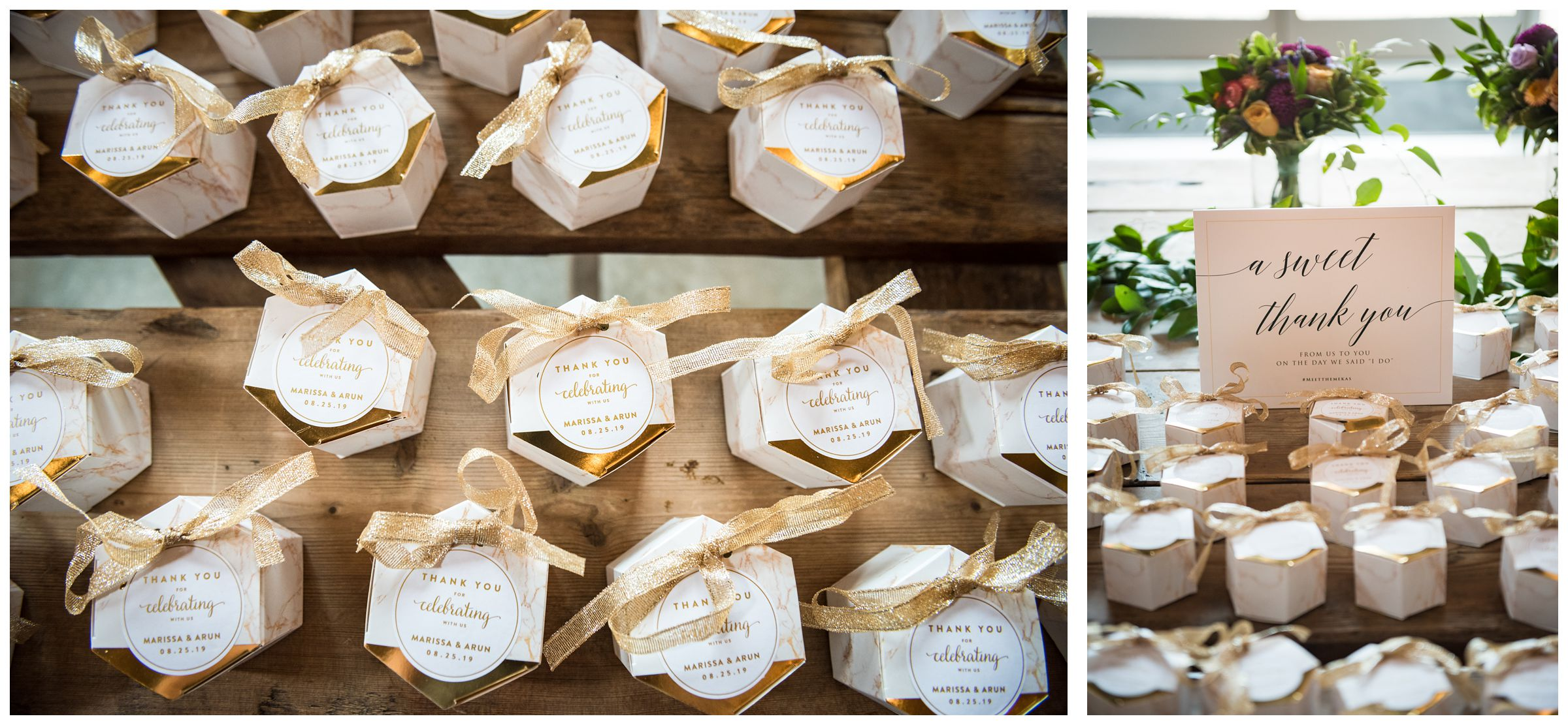 gold wedding favor boxes for sweets