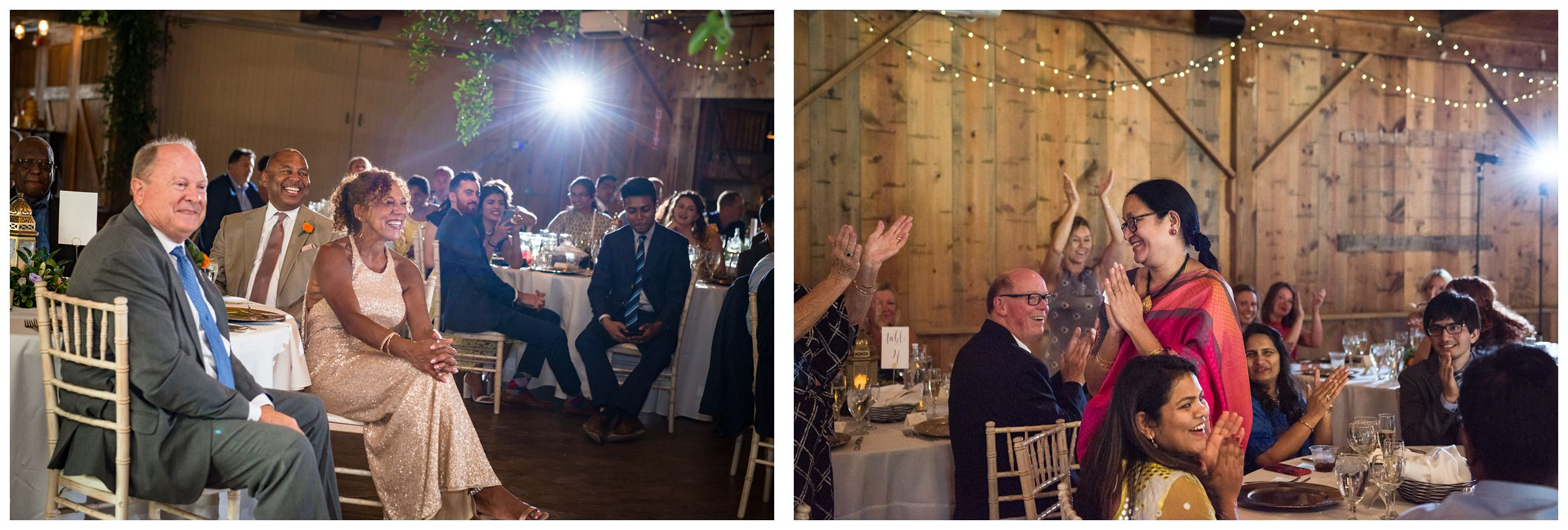 African American and Indian wedding reception at Jorgensen Farms historic barn in Columbus