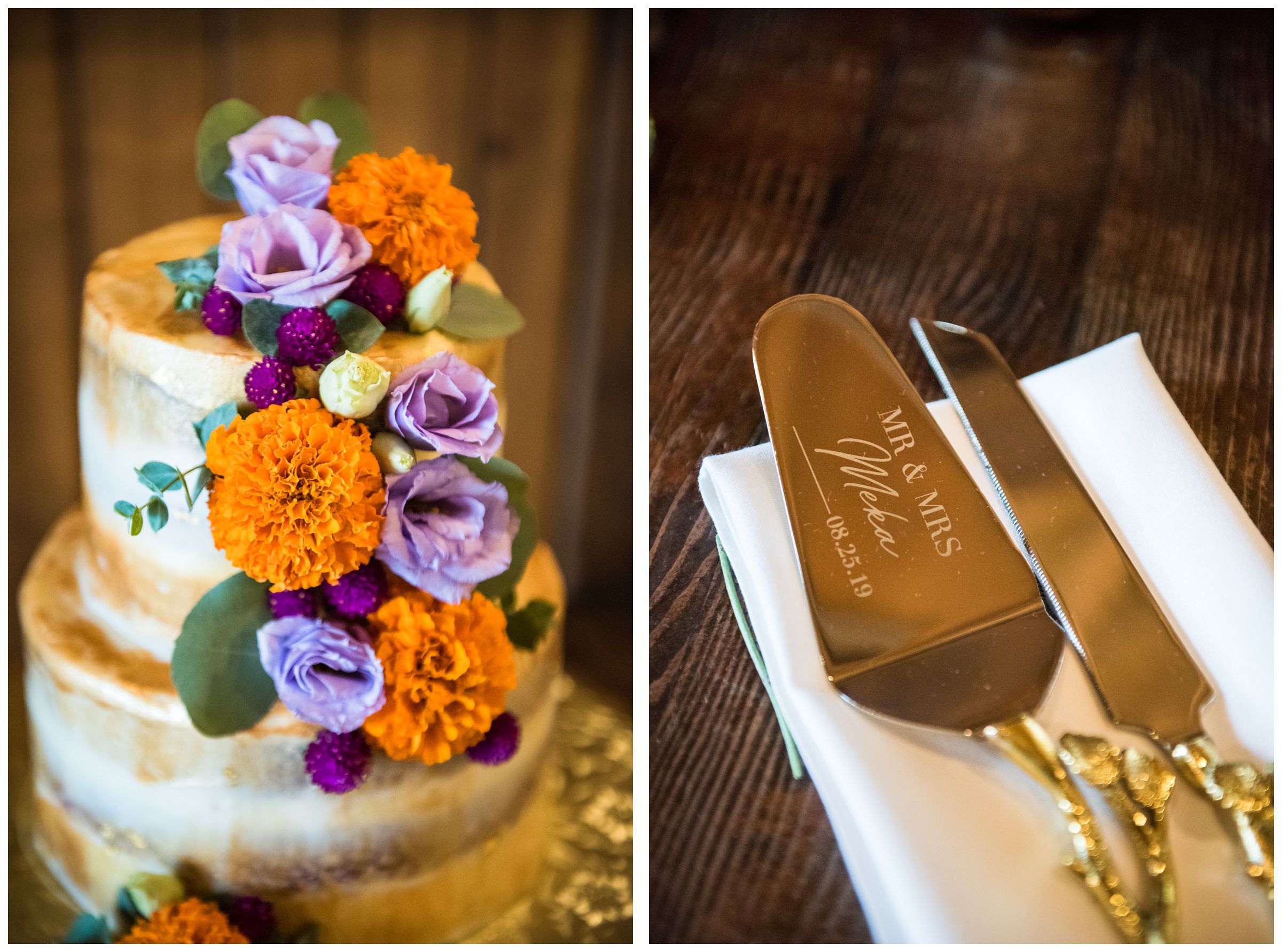 gold engraved wedding cake servers and cake with orange and purple flowers including Indian wedding flower marigolds