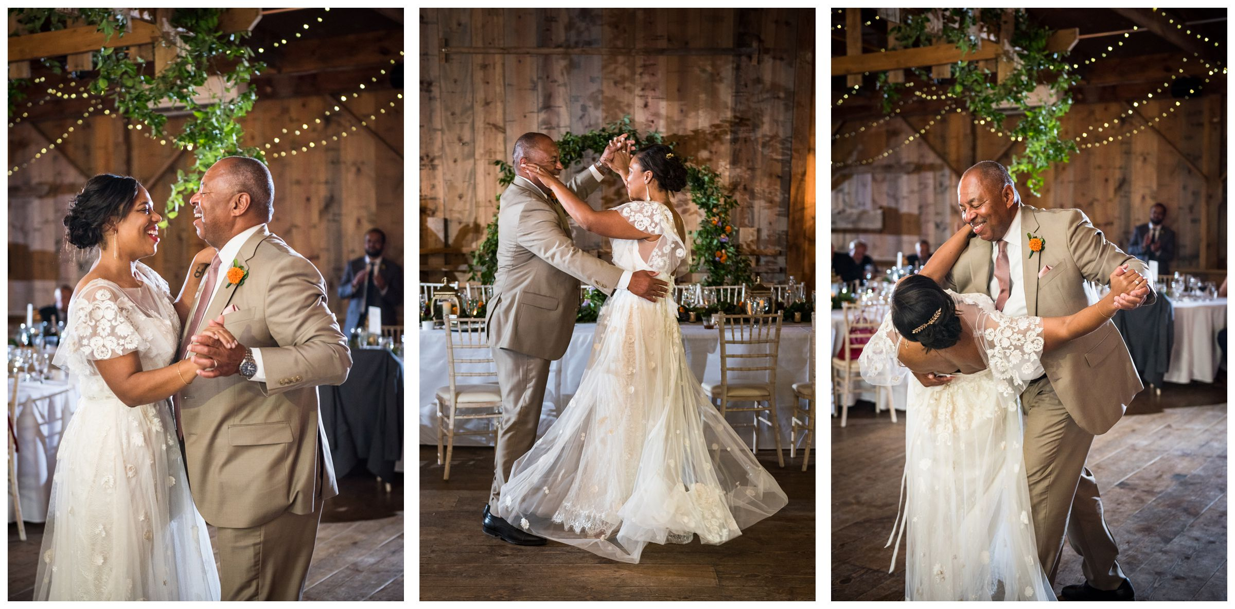 father daughter dance during rustic wedding reception at Jorgensen Farms