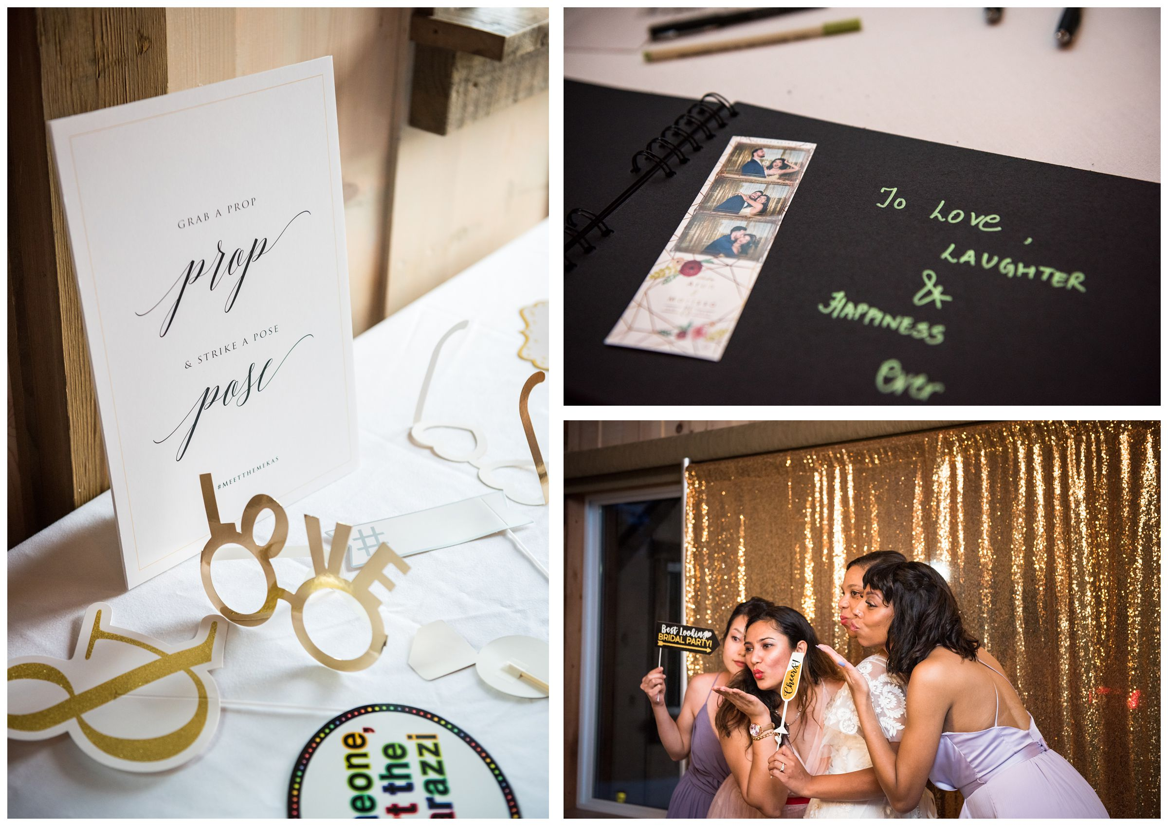 wedding reception photo booth and photo strip guestbook
