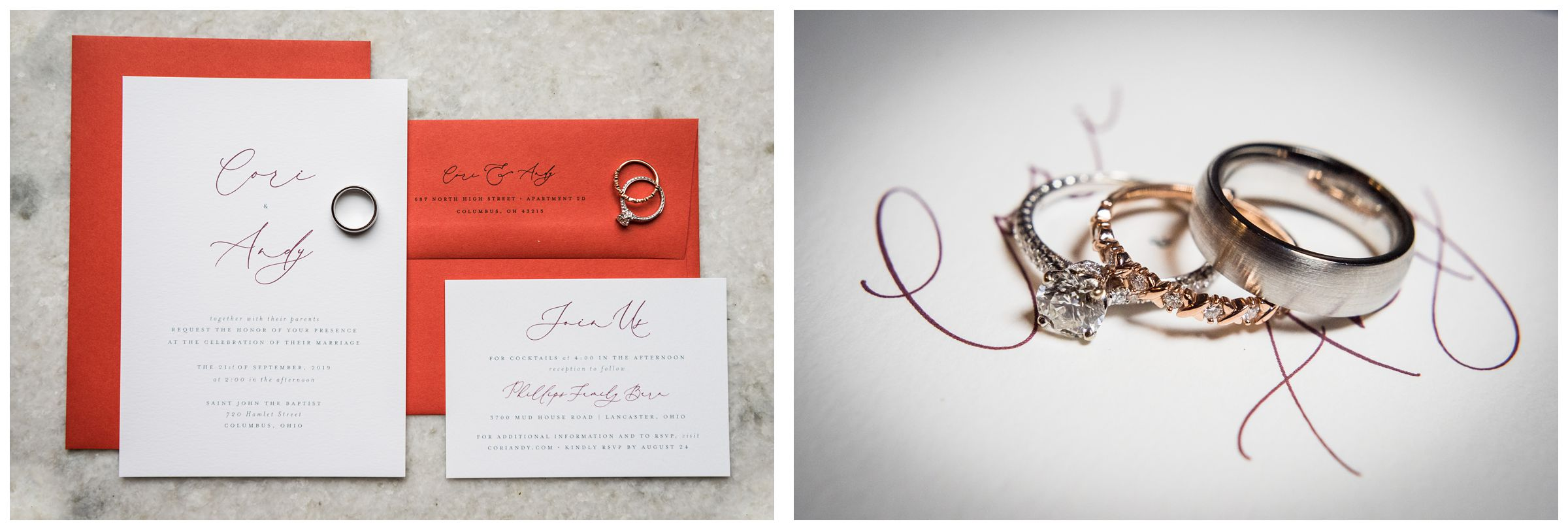 wedding rings on red and white wedding invitation suite
