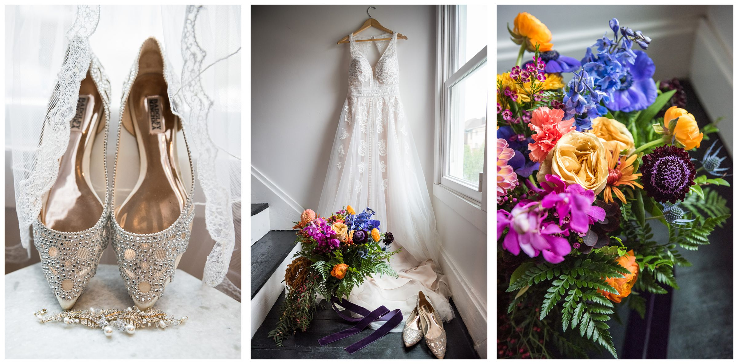 lace a-line wedding dress hanging on stairway by window with colorful jewel toned bouquet and bedazzled wedding flats