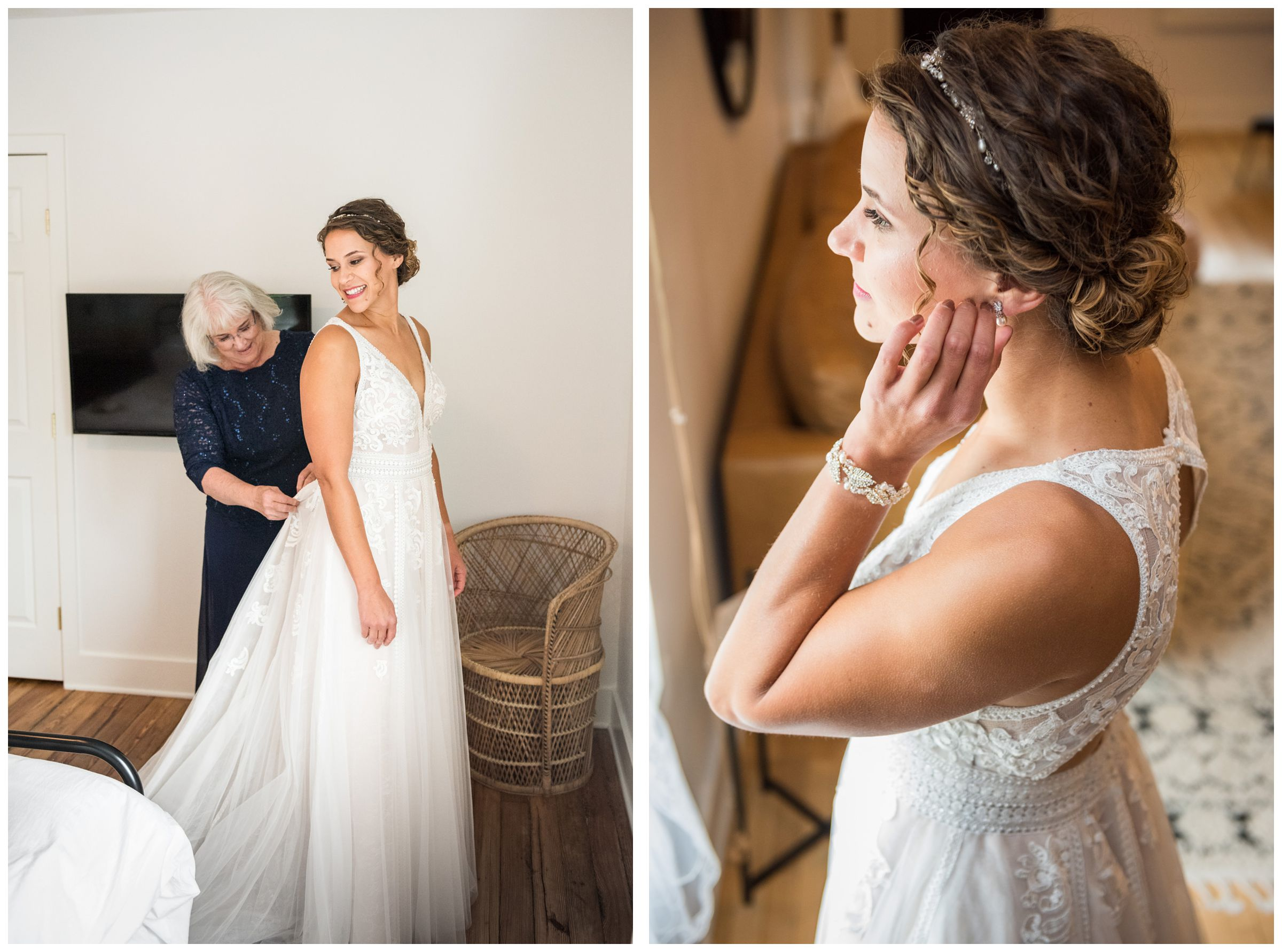 mother helping bride get ready before wedding in the Short North in Columbus Ohio