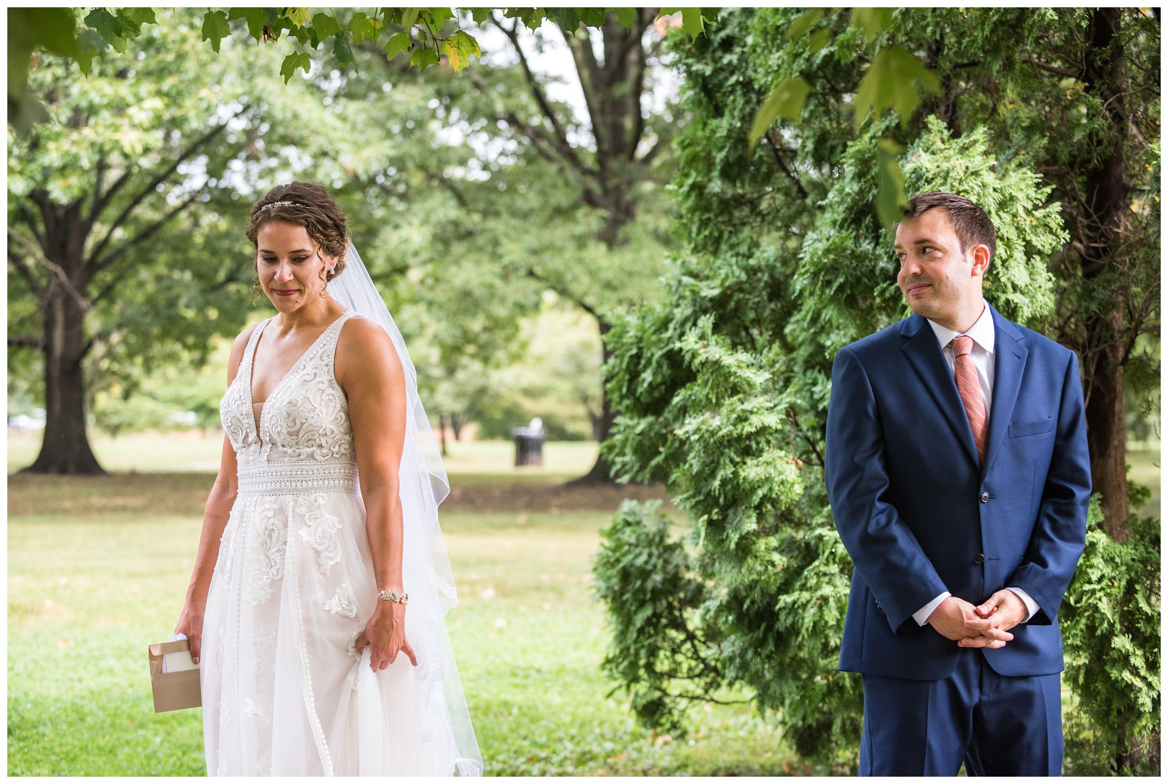 bride and groom first look at Goodale Park in the Short North captured by Columbus Ohio wedding photographer