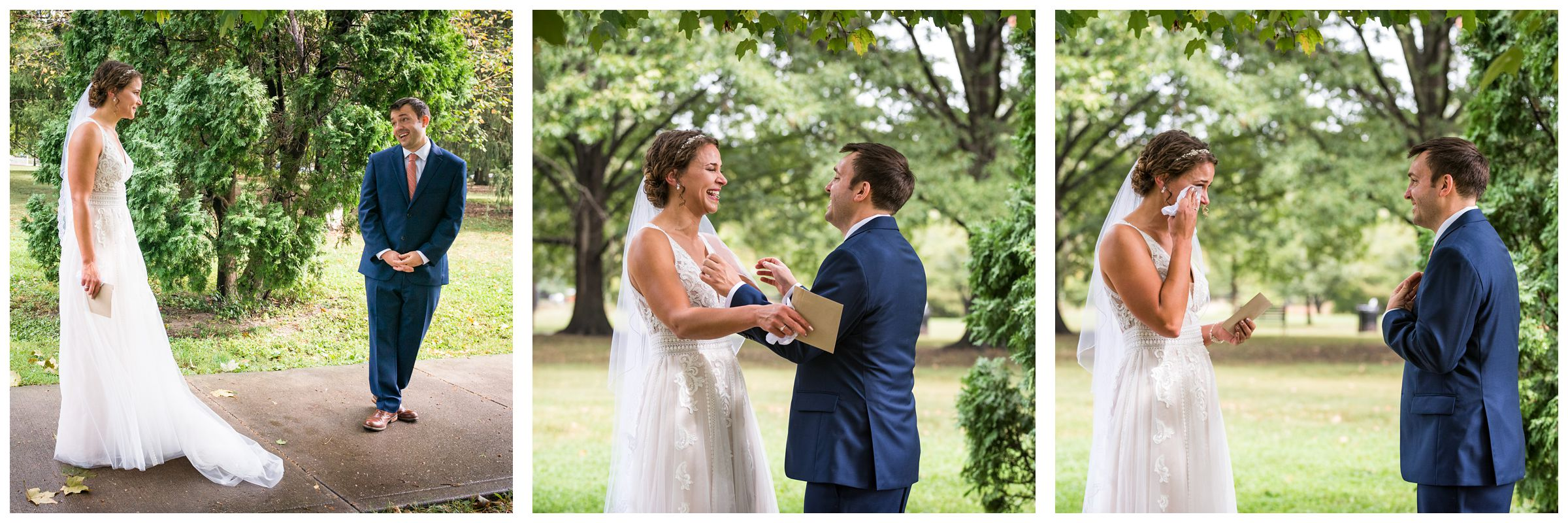 bride and groom reaction during first look at Goodale Park in the Short North neighborhood of Columbus Ohio