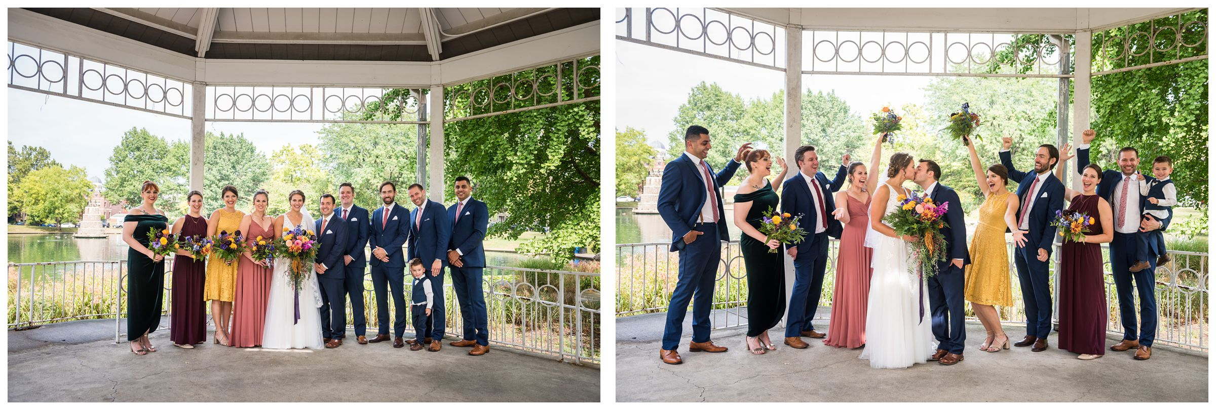 Columbus wedding party portraits in the gazebo at Goodale Park in the Short North